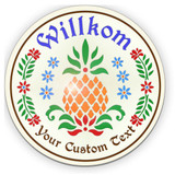 Welcome Pineapple Traditional PA Dutch Hex Indoor/Outdoor Acrylic Sign (16-32in)
