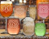 (GLA) Celtic Love Knot Monogram Wine Glasses w/ FREE Personalization