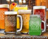 (GLB) Celtic Love Knot Monogram Beer Mugs/Glasses w/ FREE Personalization