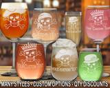 (GLA) Skull and Bones Wine Glasses w/ FREE Personalization