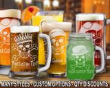 (GLB) Skull and Bones Beer Mugs/Glasses w/ FREE Personalization