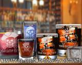 (GLC) Skull and Bones Whiskey and Shot Glasses w/ FREE Personalization