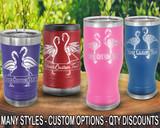 (PCB) Flirty Flamingos Polar Camel Travel Beer Tumblers w/ FREE Personalization