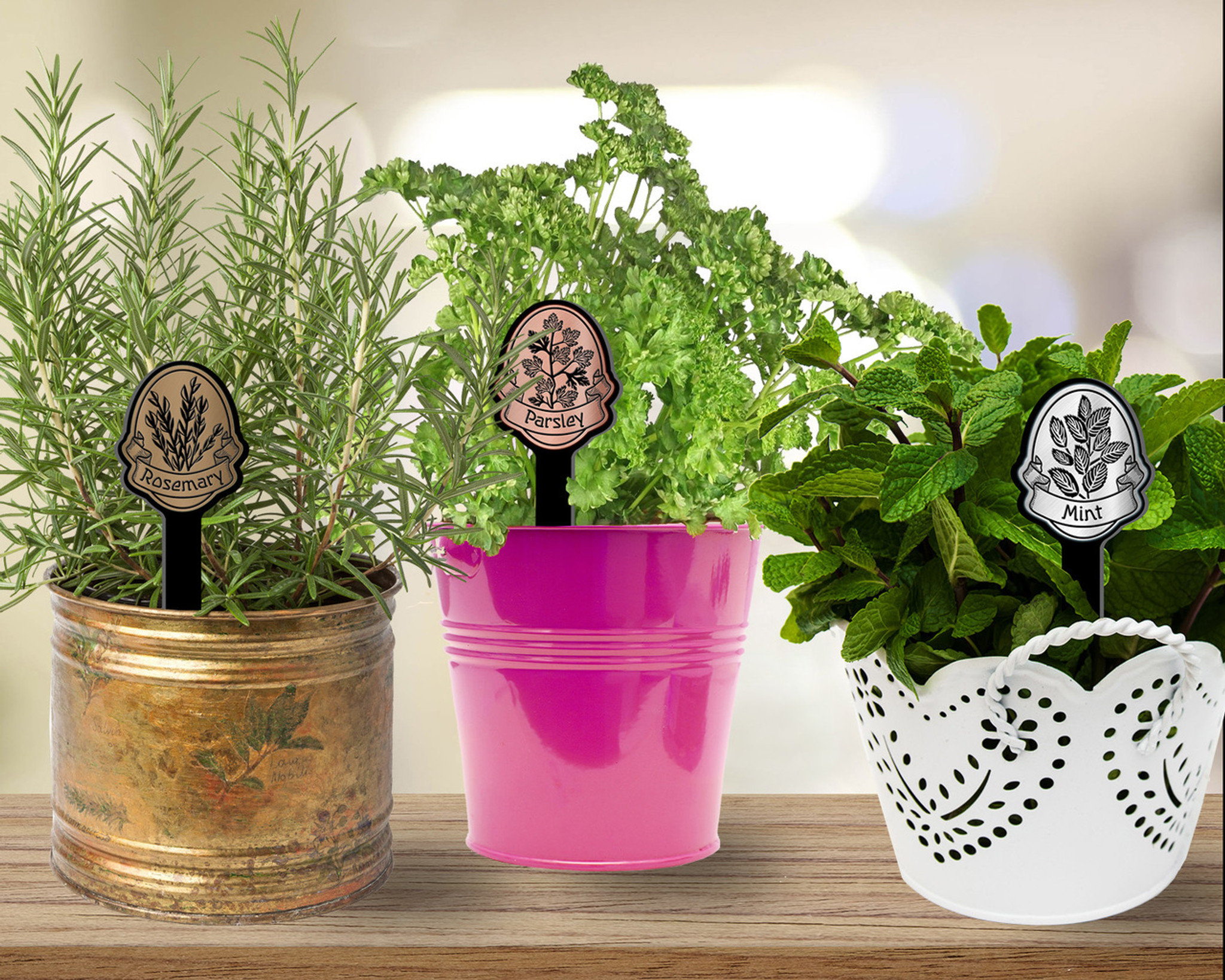 Ribbon Banner Flexibrass & Acrylic Herb Garden Stake