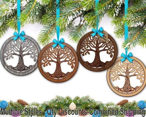 Tree of Life Hardwood Ornament w/ Metallic Leaf