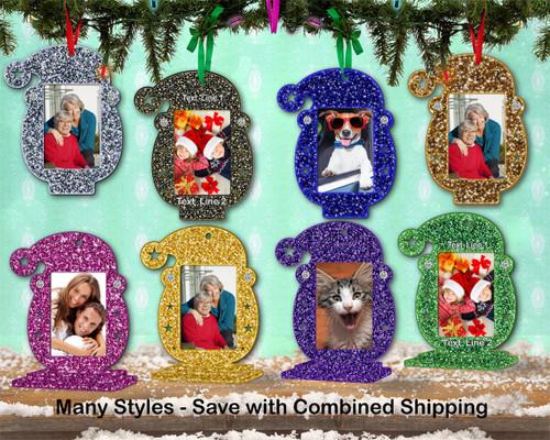 Photo Frame Glitter Santa Ornament