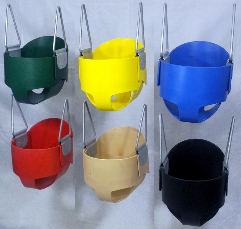 Infant High Back Full Bucket Rubber Swing Seat with Steel Core - Small Leg Openings - Made in USA - Commercial (S103)