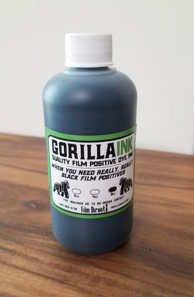 If you're looking for a dye based ink for printing film positives / negatives on your ink jet printer our custom made Gorilla Film Positive Ink is what you're looking for. It's specifically designed to block the light from your exposure system. It also works well with all black ink solutions.  Gorilla Film Positive Ink highlights:      Works with both waterproof and non-waterproof film     Compatible with Epson and Canon Inkjet printers*     Works in both desktop and large format printers     Works with most exposure units. If you're using a high output LED or metal halide unit 2k and up we recommend using our FD UV blocking dye black ink.     4 year shelf life