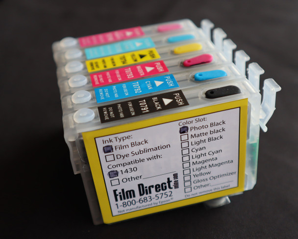 Replacement Refillable All Black Cartridges-1430/1400 #79 chip