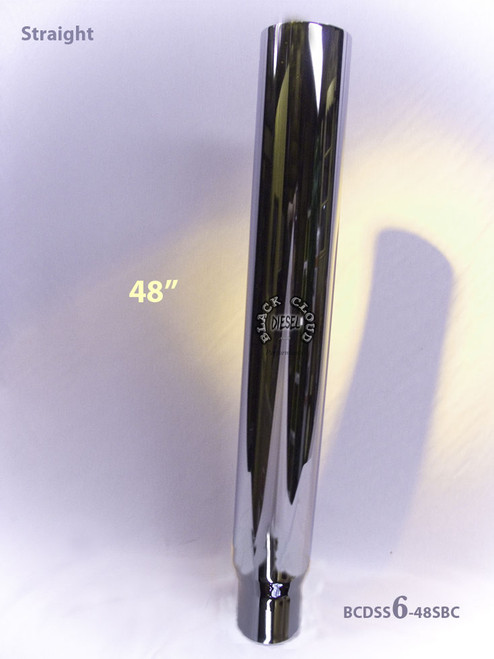"""Chrome 6"""" Straight Cut Flat Top Stack 6"""" x 48"""" with 5"""" OD Base"""