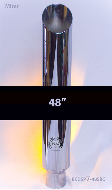 """Chrome 8"""" Mitre Stack Angle Cut 8"""" x 48"""" with 5"""" OD Base Grand Rock Stacks SP8-48SBC-5"""
