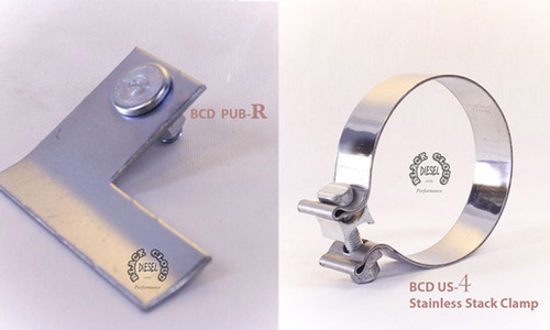 """Single 4"""" Bright Stainless Stack Clamp and Right Bracket"""