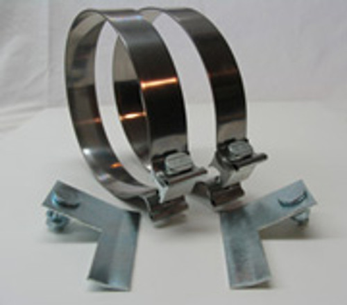 """Dual 4"""" Bright Stainless Stack Clamps + Left and Right Bracket"""