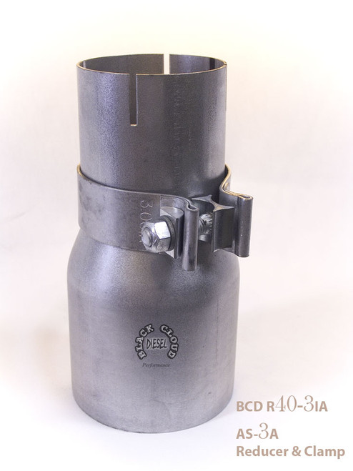"""4"""" OD-3 ID Aluminized Reducer and Clamp Set"""
