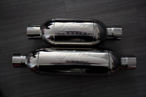 "Jones Full Boar Turbine Mufflers Resonated Performance Car & Truck Muffler 4"" Inlet/4"" Outlet"
