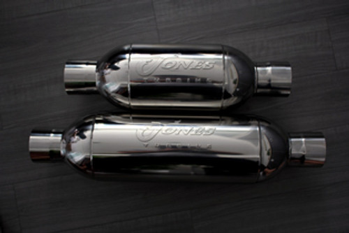 "Jones Full Boar Turbine Mufflers Resonated Performance Car & Truck Muffler 2.5"" Inlet/2.5"" Outlet"
