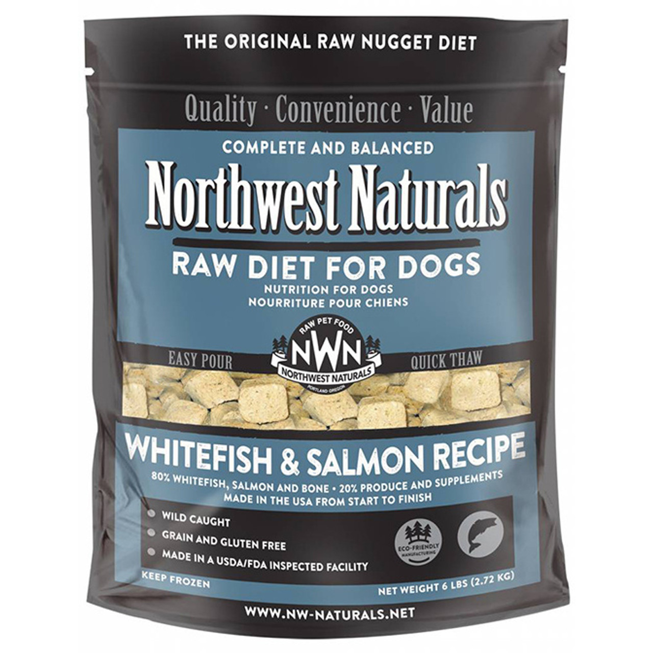 A 6 pound resealable, easy-carry bag holds IQF (Individually Quick Frozen) nuggets which weigh approximately .20 oz each, 80 to the pound. The formulas are ground, formed and then quick frozen at -30° for 10 minutes. Open the bag and pour the proper feeding amount into your dogs bowl. The small nuggets will thaw quickly and are small enough for the tiniest dogs or puppies. The pourable feature means that you never handle the raw product and you place the portion you do not use back into the freezer.