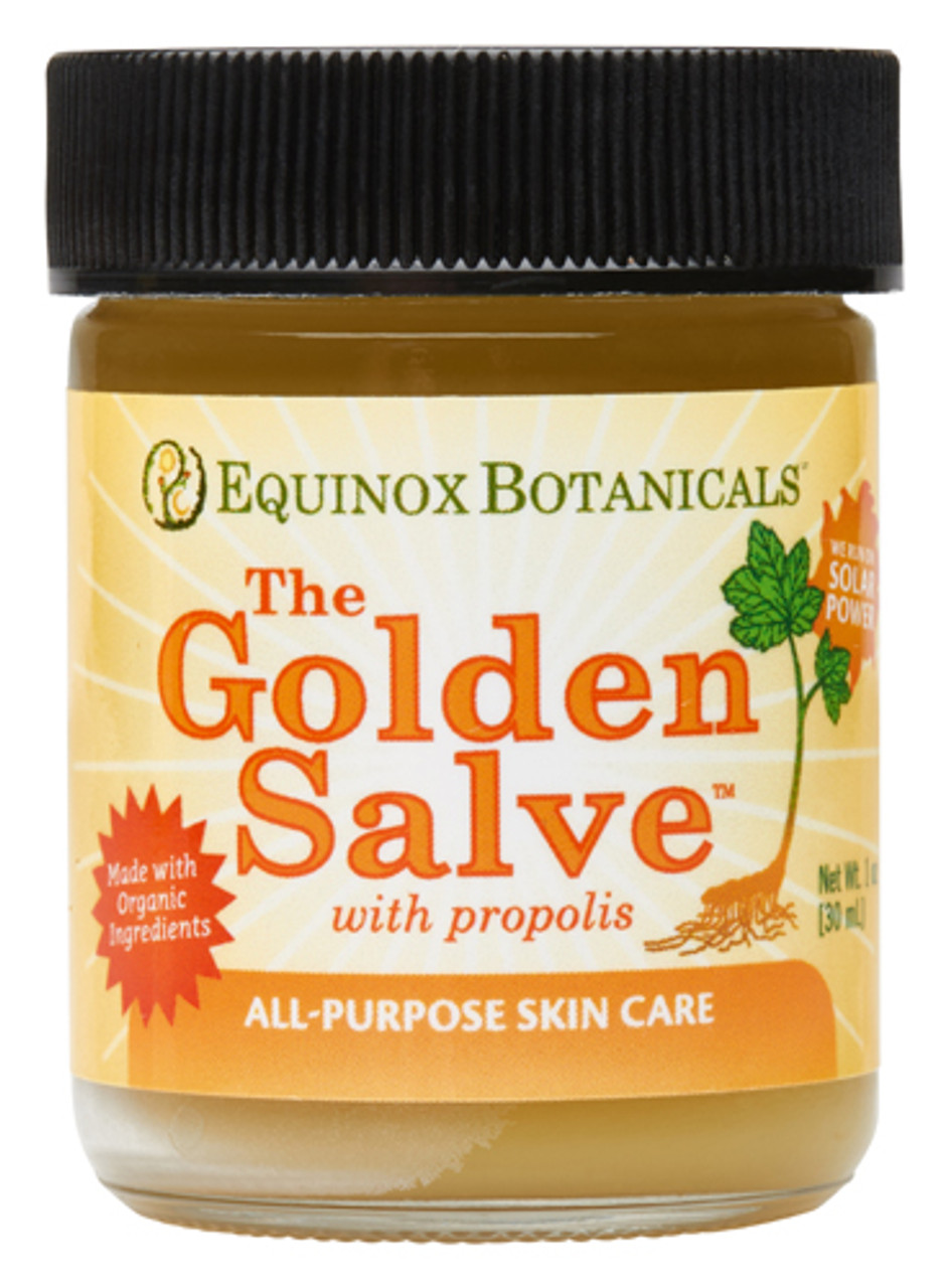 The Golden Salve(TM)  is Equnox Botanical's most popular product and the one they are most proud of. They started making The Golden Salve(TM) over 30 years ago to relieve the inevitable wounds that accompany farm life. Today, they feel that it is the most effective skin care product on the market. Only the finest ingredients are used. Propolis, goldenseal root, comfrey root, yellow dock root, calendula flower, and balm of gilead bud are slowly cooked in organic extra virgin olive oil, cold pressed safflower oil, organic coconut oil, and beeswax.