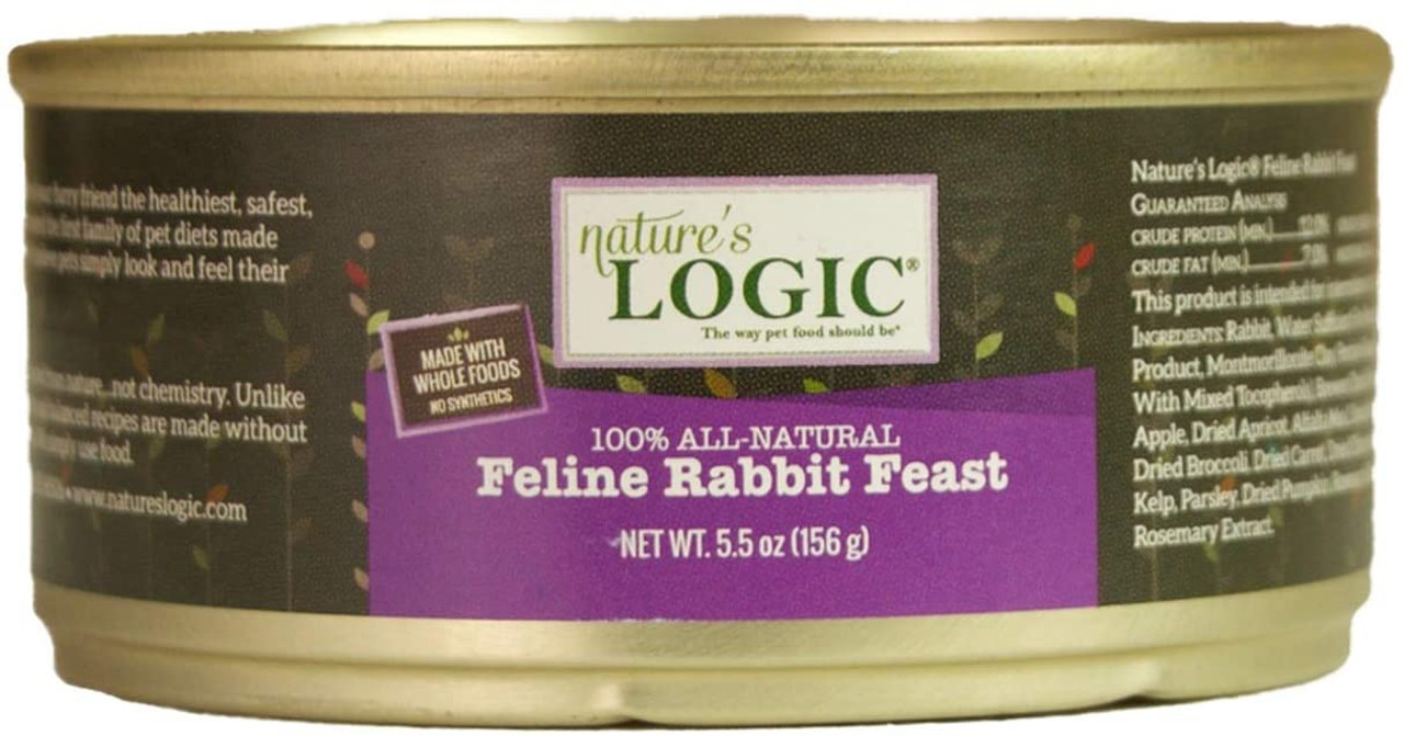 Nature's Logic Feline Rabbit Feast Canned Food is a delicious and nutrient dense complete wet food for cats made with high amounts of muscle and organ meat to provide all of the vitamins and ensure the food uses no synthetic supplements. These canned foods are grain and gluten free.