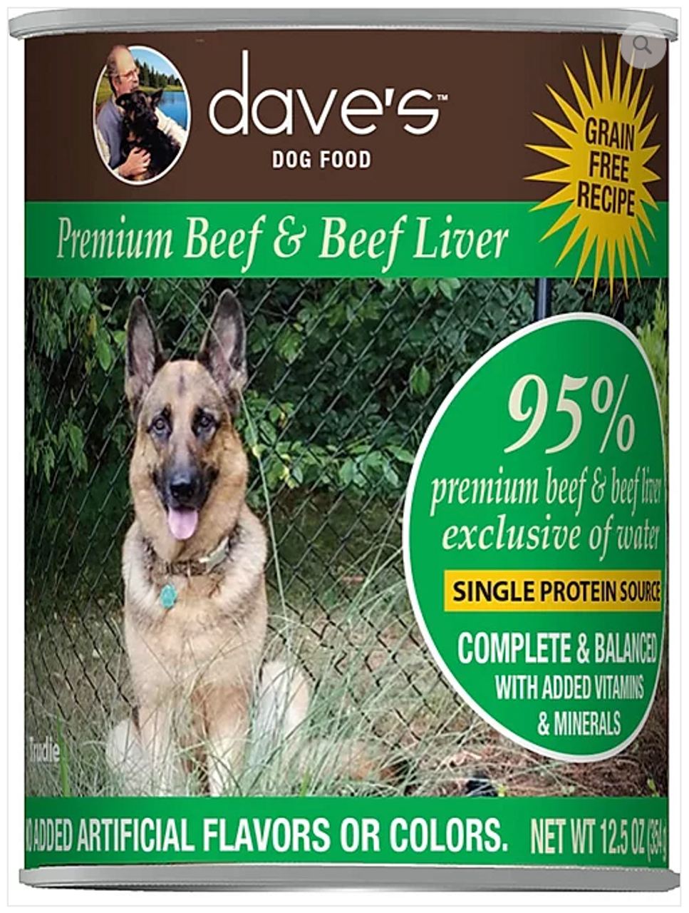 Dave's 95% Dog food: beef, chicken and turkey recipes are a great inexpensive alternative to a raw diet. Dave's 95% Premium Meats™ Canned Dog Food is designed to give your dog a complete and balanced diet!