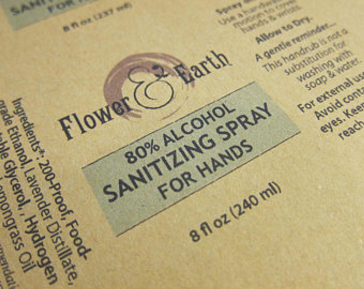 Flower & Earth 80% Alcohol Hand Sanitizing Spray 8oz