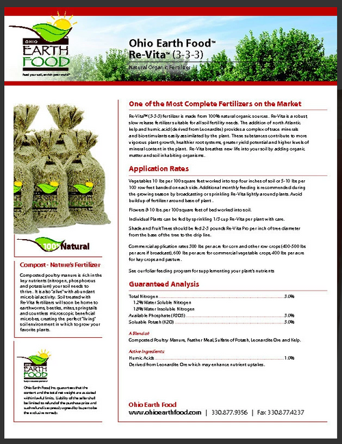 Ohio Earth Food Re-Vita Compost Plus (3-4-3) 50#