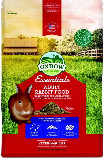 Feed your adult rabbit a diet that combines essential fiber and stabilized nutrients with Oxbow Essentials Bunny Basics/T Adult Rabbit Food.