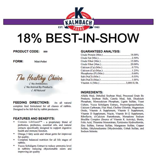 Kalmbach Best in Show Rabbit 18% 50#