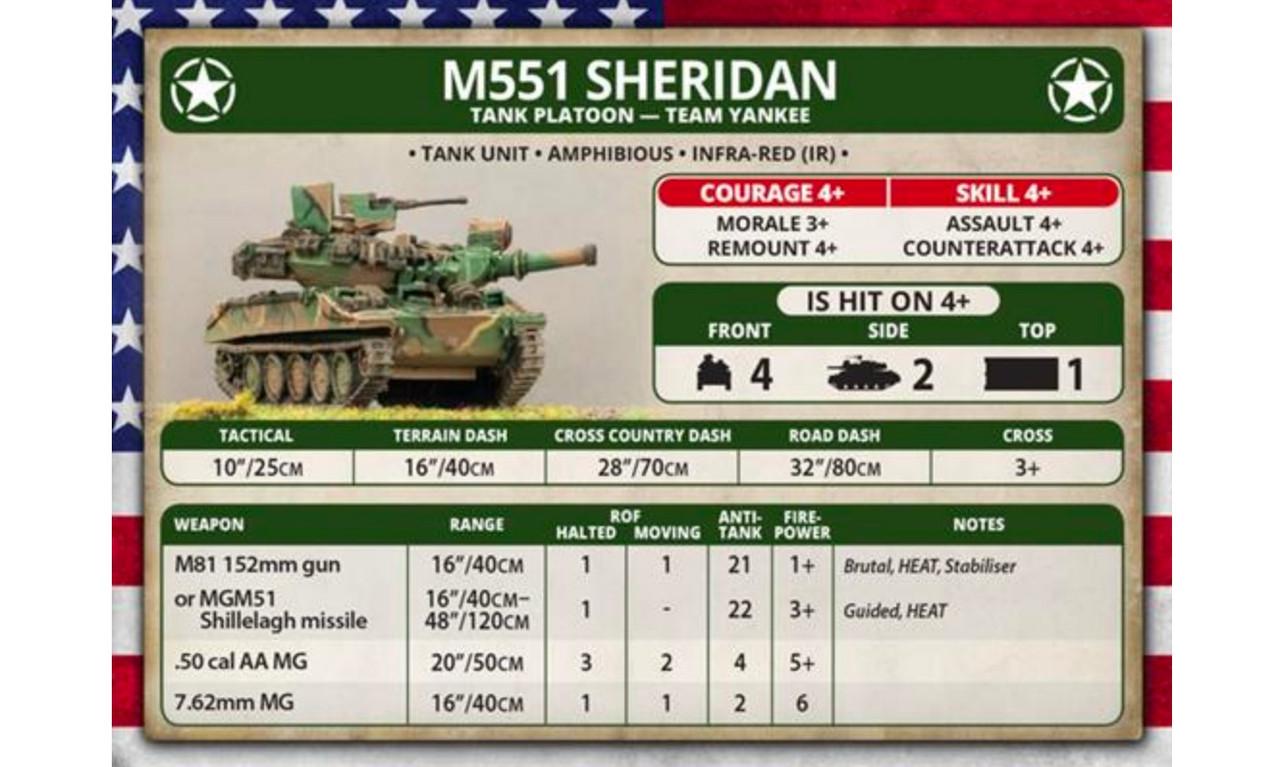 w// 5 vehicles New Team Yankee American TUBX17- M551 Sheridan Tank Platoon