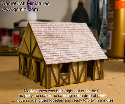 One Story Small Half Timber House  (MDF) - 15MMDF301