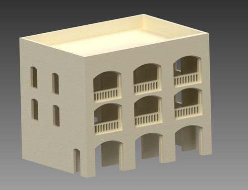 20mm Middle East 3 Story Building w/Removable Floors and Roof - 20MMDF152-1
