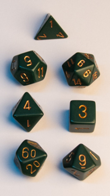 Opaque Polyhedral Dusty Green w/copper 7-Die Set