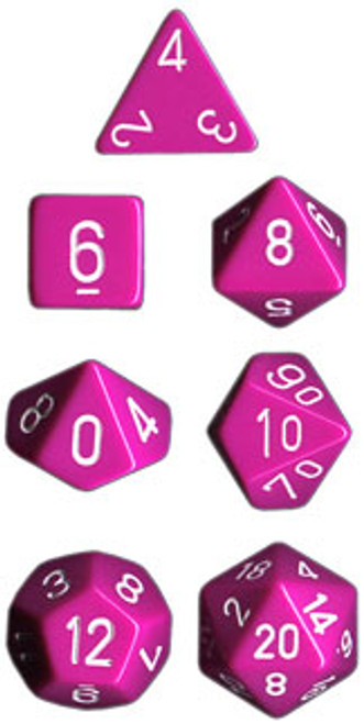 Opaque Polyhedral Light Purple/white 7-Die Set