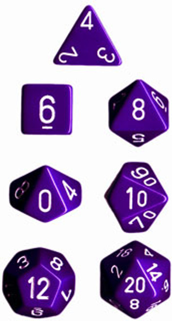 Opaque Polyhedral Purple/white 7-Die Set