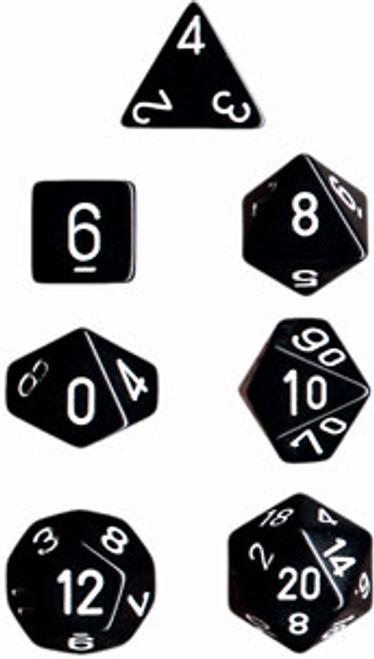 Opaque Polyhedral Black/white 7-Die Set