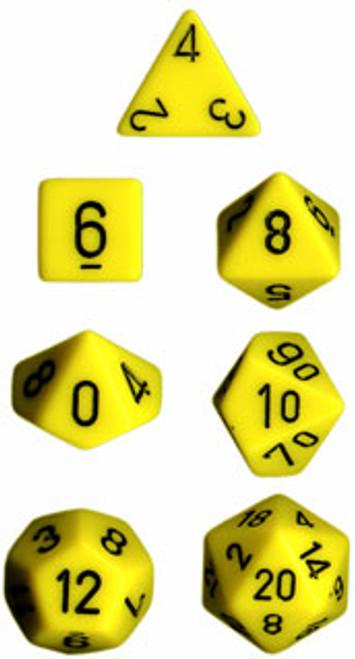 Opaque Polyhedral Yellow/black 7-Die Set