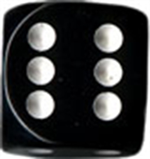 Opaque 16mm d6 Black/white Dice Block (12 dice)