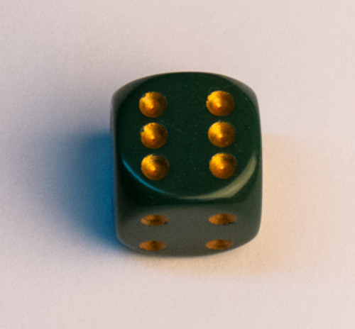 Opaque 16mm d6 Dusty Green w/copper Dice Block (12 dice)