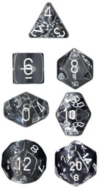Translucent Polyhedral Clear/white 7-Die Set
