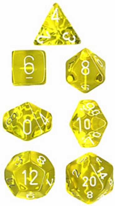 Translucent Polyhedral Yellow/white 7-Die Set