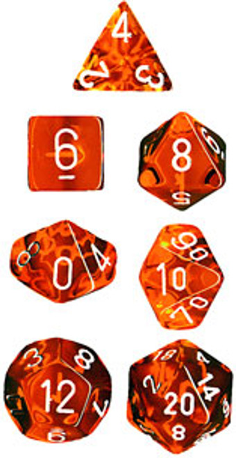 Translucent Polyhedral Orange/white 7-Die Set