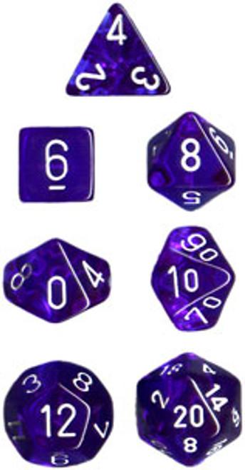 Translucent Polyhedral Blue/white 7-Die Set