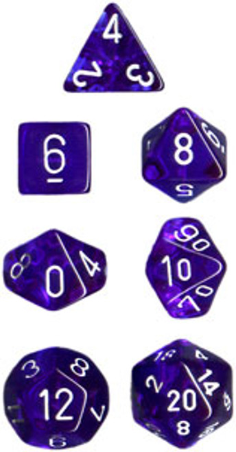 Translucent Polyhedral Blue/white 7-Die Set