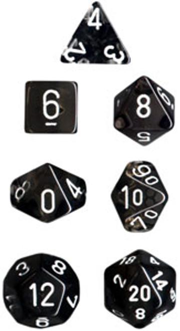 Translucent Polyhedral Smoke/white 7-Die Set
