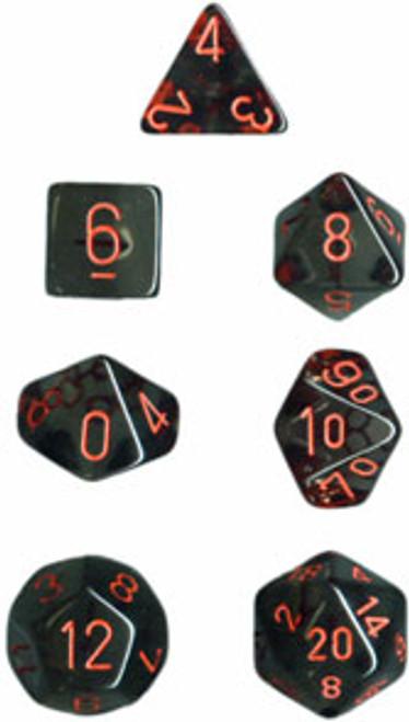 Translucent Polyhedral Smoke/red 7-Die Set