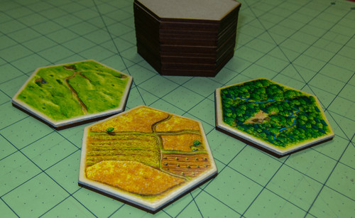"3.120"" (79mm) Hex Base (MDF) - Perfect for Settlers of Catan"