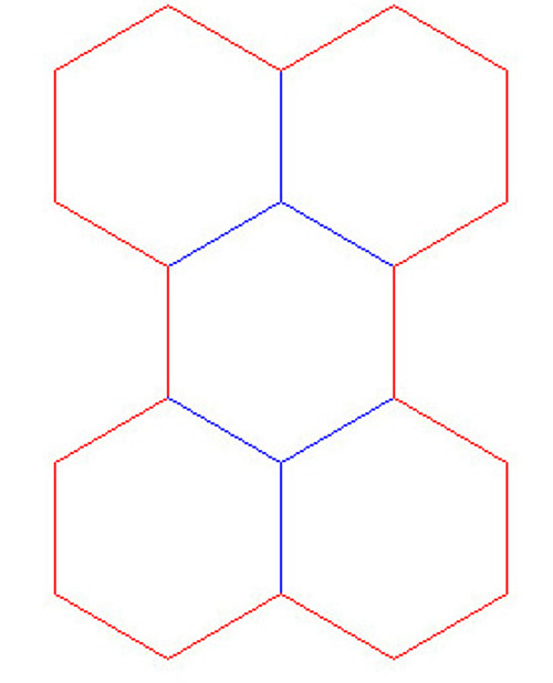 """Hex Bases, Array of Five Hex - (1.25"""")"""