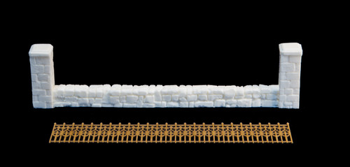 20mm (1/72nd) Stone wall with wrought iron fence - 20MTAV025