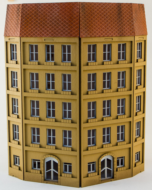 15mm European City Corner Building (Matboard) - 15MCSS125