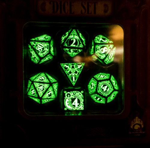 Steampunk Dice Set Black/Glow-in-the-Dark (7)